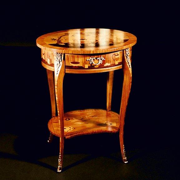 Tavolino intarsiato Stile Luigi XV Mod. CINESE