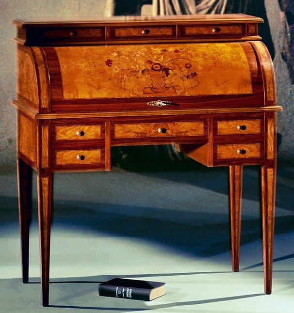 Scrittoio a rullo intarsiato Stile Luigi XVI Mod. FIORI
