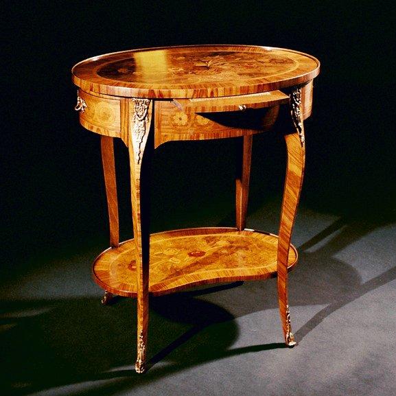 Tavolino intarsiato Stile Luigi XV Mod. FIORI
