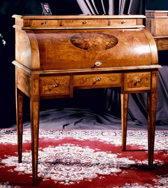Scrittoio a rullo intarsiato Stile Luigi XVI Mod. MUSICA