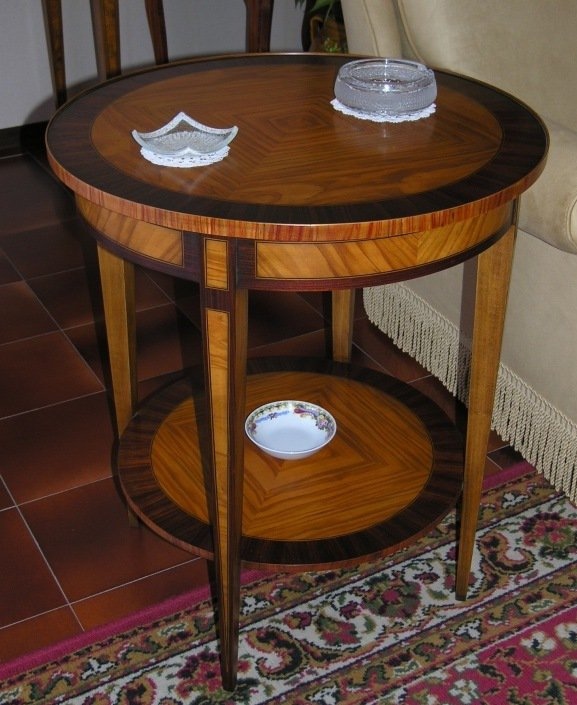 Tavolino rotondo intarsiato Stile Luigi XVI Mod. GINEVRA