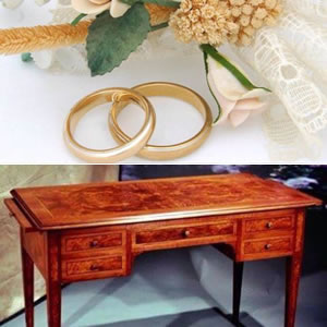 Inlaid writing desk wedding gift