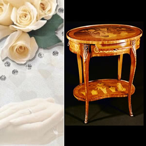 Inlaid side table wedding gift